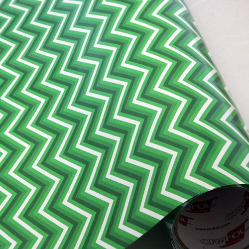 Greens & White Chevron 651 Vinyl