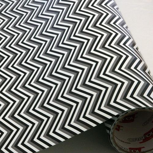 Black, White & Grey Chevron 651 Vinyl