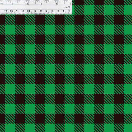 Green Buffalo Plaid with Ruler for Size Reference