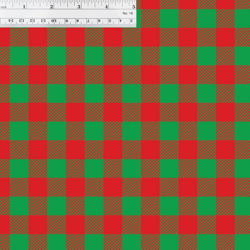 Green and Red Buffalo Plaid with Ruler for Size Reference