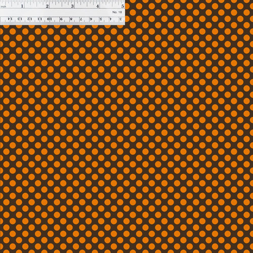 Brown and Orange Polka Dots with Ruler for Size Reference