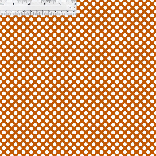 Burnt Orange and White Polka Dots with Ruler for Size Reference