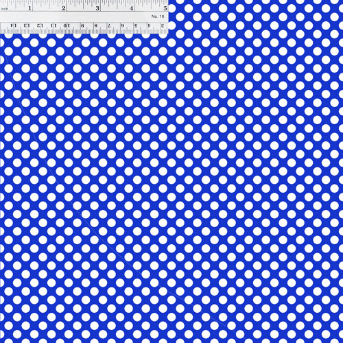 Blue and White Polka Dots with Ruler for Size Reference