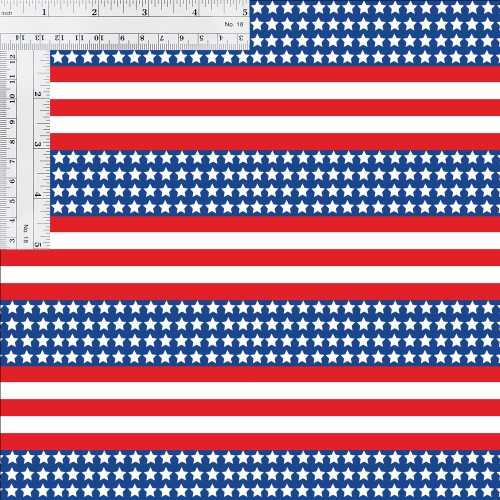 Patriotic US Flag 651 Small Print Printed Vinyl with Ruler for Size Reference