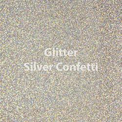 """Glitter HTV: 12"""" x 20"""" - Silver Confetti"""