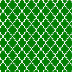 "Printed Pattern Vinyl - Green and White Quatrefoil 12"" x 24"" Sheet"