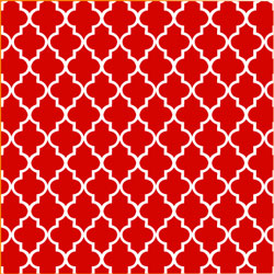 "Printed Pattern Vinyl - Red and White Quatrefoil 12"" x 24"" Sheet"