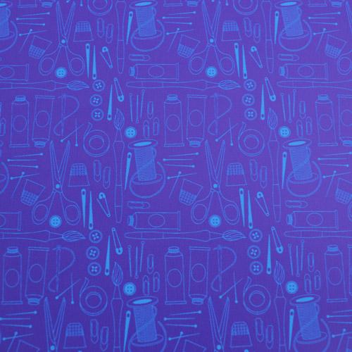 """Printed Pattern Vinyl - Tools & Spools Amethyst & Teal - 12"""" x 24"""" Sheet"""