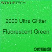 """StyleTech 2000 Ultra Glitter - 162 Fluorescent Green - 12""""x12"""" Sheet"""