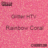 "Glitter HTV: 12"" x 5 Yard Roll - Rainbow Coral"