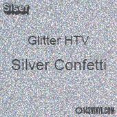 "Glitter HTV: 12"" x 5 Yard Roll - Silver Confetti"