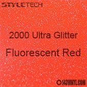 """StyleTech 2000 Ultra Glitter - 164 Fluorescent Red - 12""""x12"""" Sheet"""