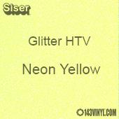"Glitter HTV: 12"" x 5 Yard Roll - Neon Yellow"