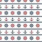 "Printed Pattern Vinyl - Anchors and Wheels 12"" x 24"" Sheet"