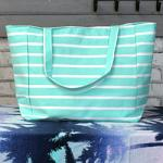 Striped Beach Bag - Mint