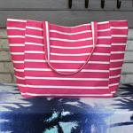 Striped Beach Bag - Pink