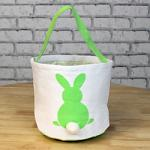Easter Basket - Green with Bunny