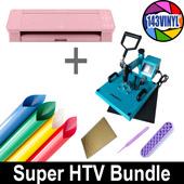 Turquoise Press + Pink Cameo 4 Super Heat Transfer Bundle (HTV, iron-on)