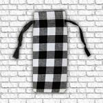 Wine Bottle Gift Bag - White Buffalo Plaid