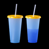 Color Changing Tumbler with Lid and Straw - Blue to Dark Blue