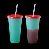 Color Changing Tumbler with Lid and Straw - Green to Dark Purple