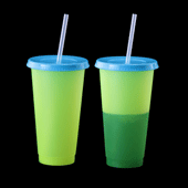 Color Changing Tumbler with Lid and Straw - Neon Yellow to Green