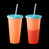 Color Changing Tumbler with Lid and Straw - Orange to Red