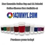 143VINYL Adds White Reusable Coffee Cups And Coffee Sleeves To Product Line