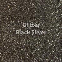 "Glitter HTV: 12"" x 20"" - Black Silver"
